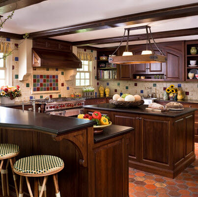 Rustic kitchen design with wooden island and black granite countertop