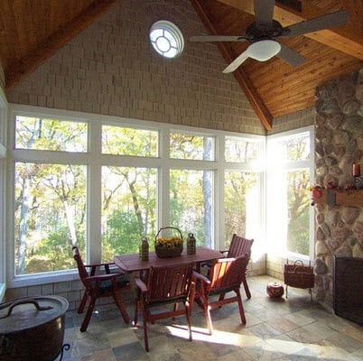 Rustic kitchen with ceiling fan