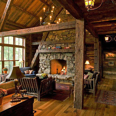 Rustic room made of wood and stone