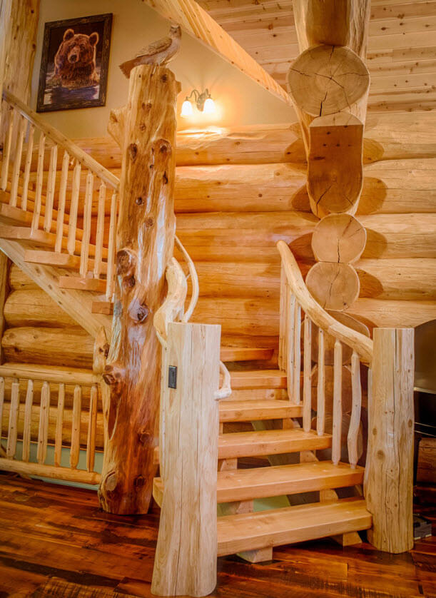 Rustic wood staircase design