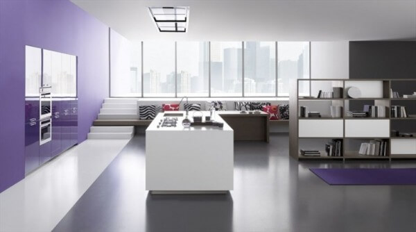 Simple white island view kitchen design