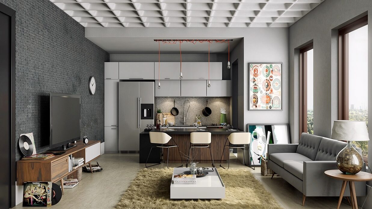 Small kitchen design next to living room