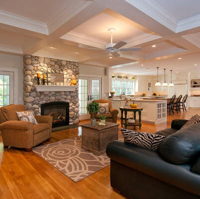 Stone fireplace in the center in living room