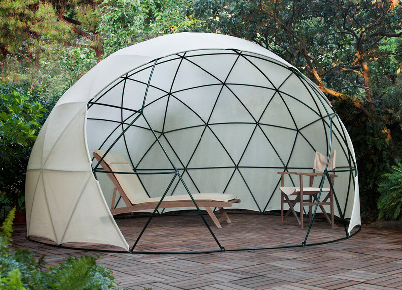 Umbrella shaped dome design placed in the garden
