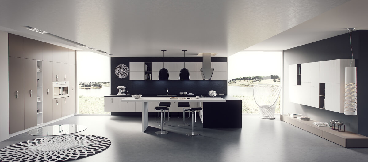 Well-lit kitchen design with large windows