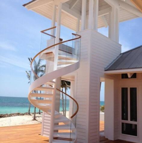 White wooden spiral staircase design