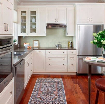 Wooden kitchen floor with white cabinets