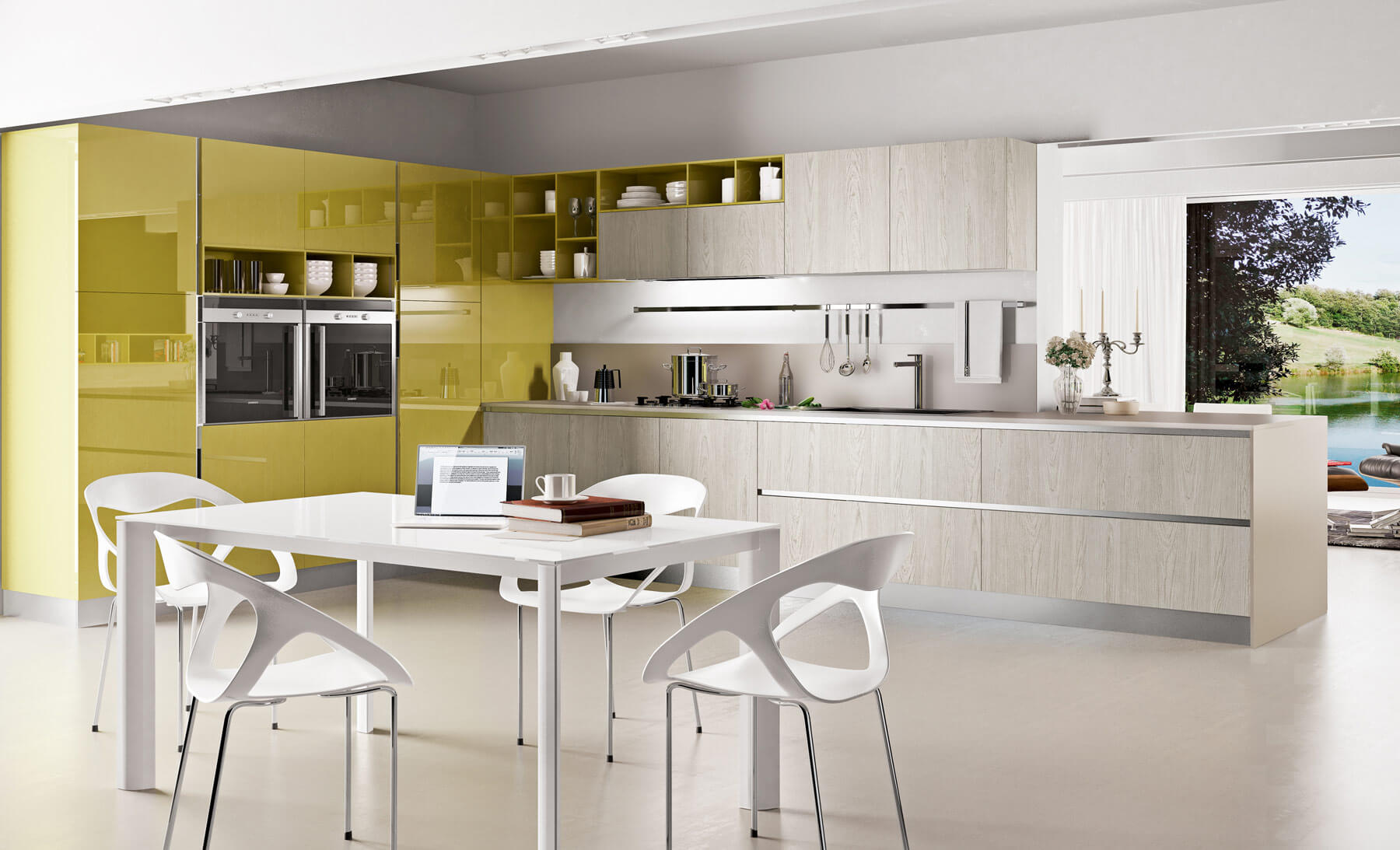 Yellow contemporary kitchen design