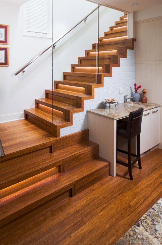 backlit wooden stairs design