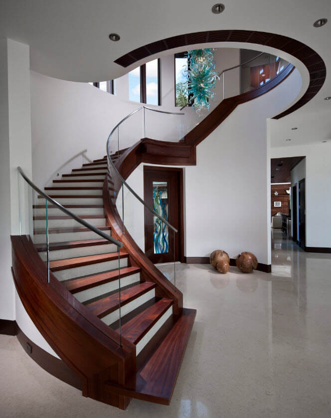 circular staircase wood and glass