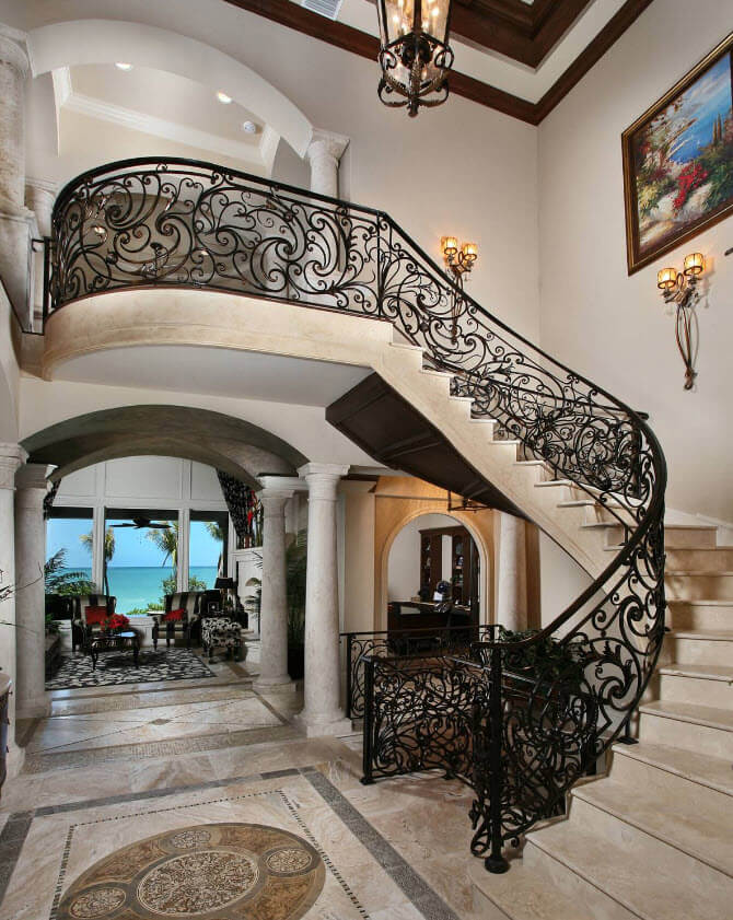 classic stairs iron and marble
