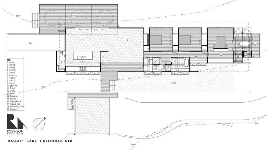 elongated house floor plan