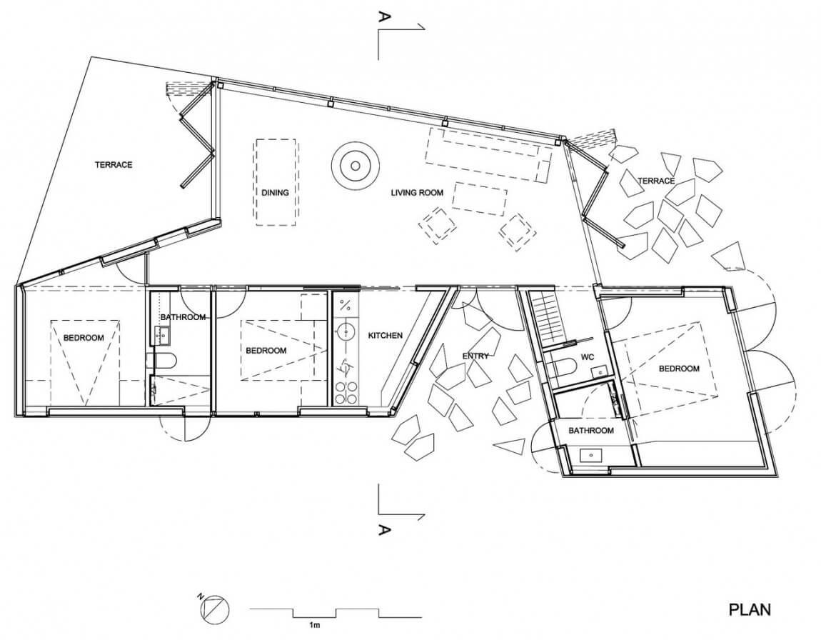 irregular terrain house floor plan
