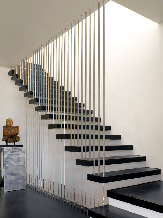 modern black and white staircase