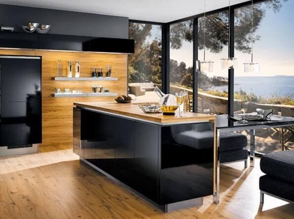 modern black kitchen bar design