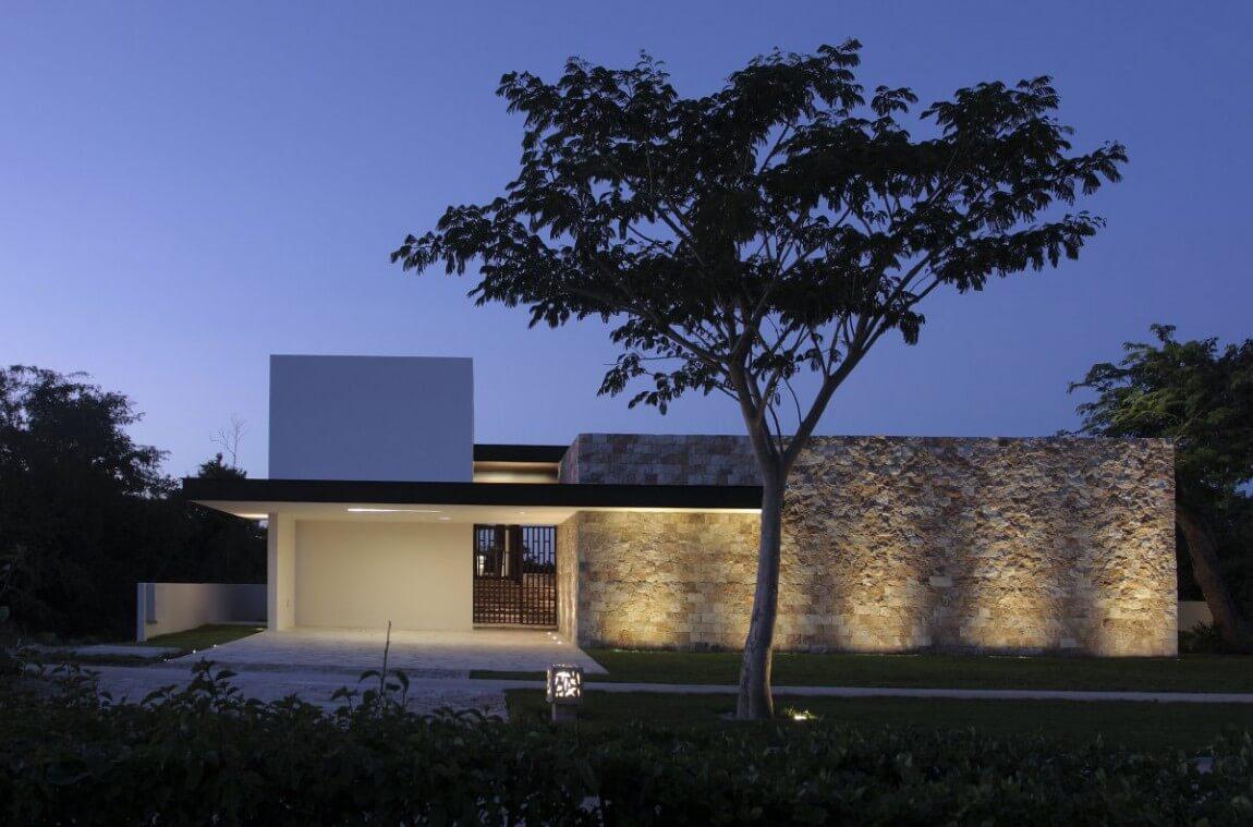 modern stone house facade