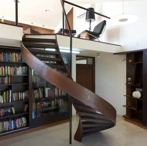 spiral staircase made of wood for mezzanines