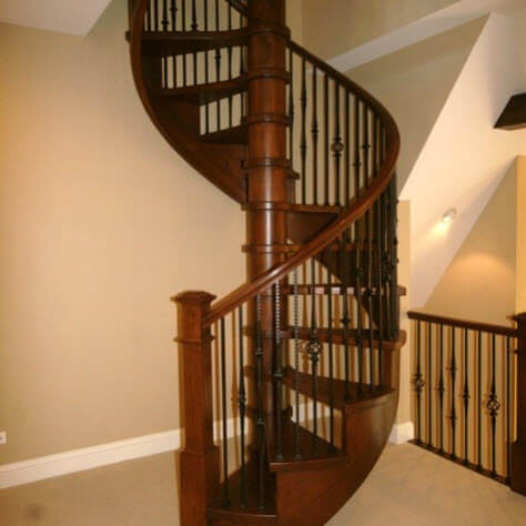wooden spiral staircase classic design