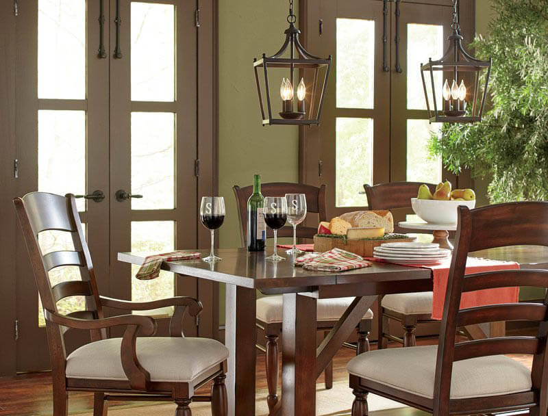 craftsman style pendant lighting over dining room table