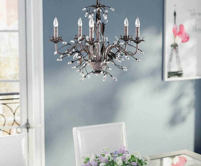 dining room candlelight chandelier with 5 light bulbs