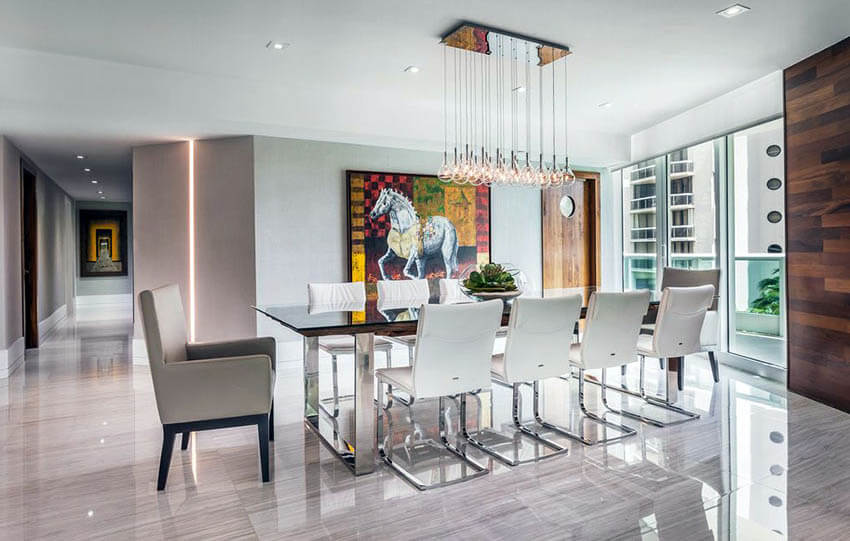 luxury modern dining room with multiple pendant lighting and recessed lights