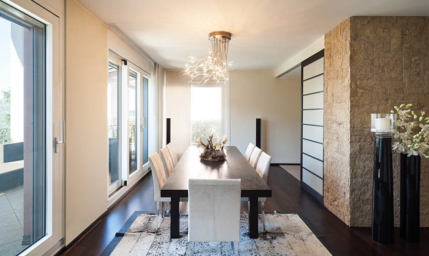 modern dining room with semi flush light fixture with neo prong design