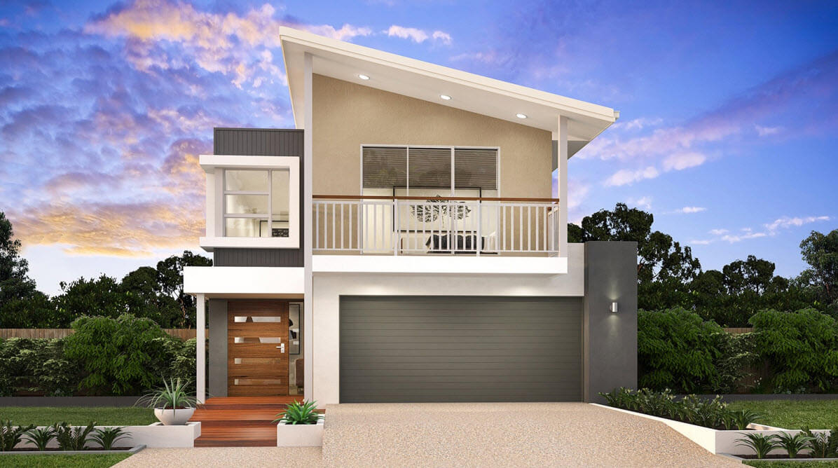 Modern two story house facade idea