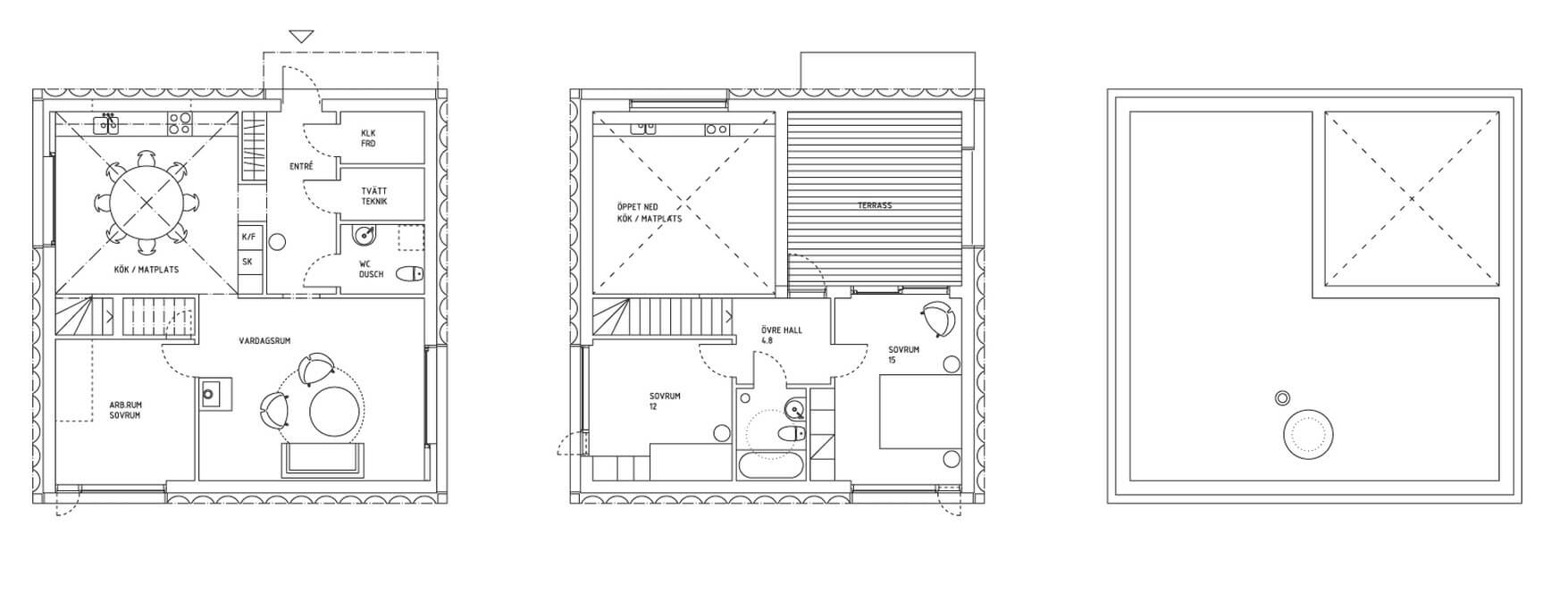 Small square houses two floors plan