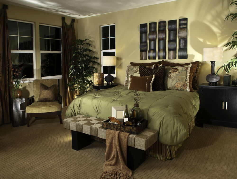 Modern master bedroom bedding with matching curtains