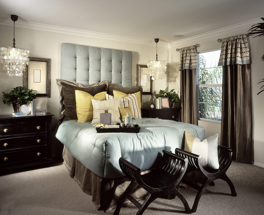 Opulent Master Bedroom Decorating Ideas With Black Furniture And Big Black  Pillows Two Chairs In
