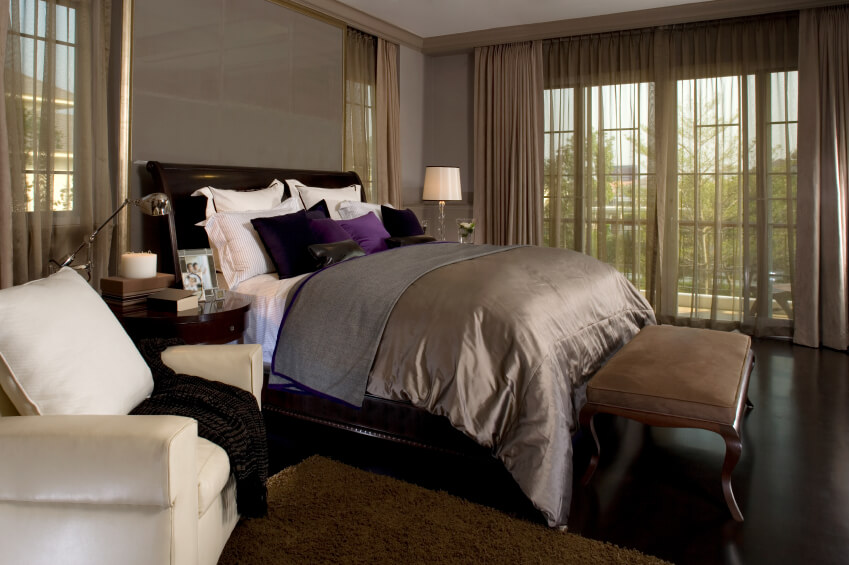 Luxury Master Bedroom Designs Ideas Photos - Bedroom for couples with dark purple color schemes with purple carpet