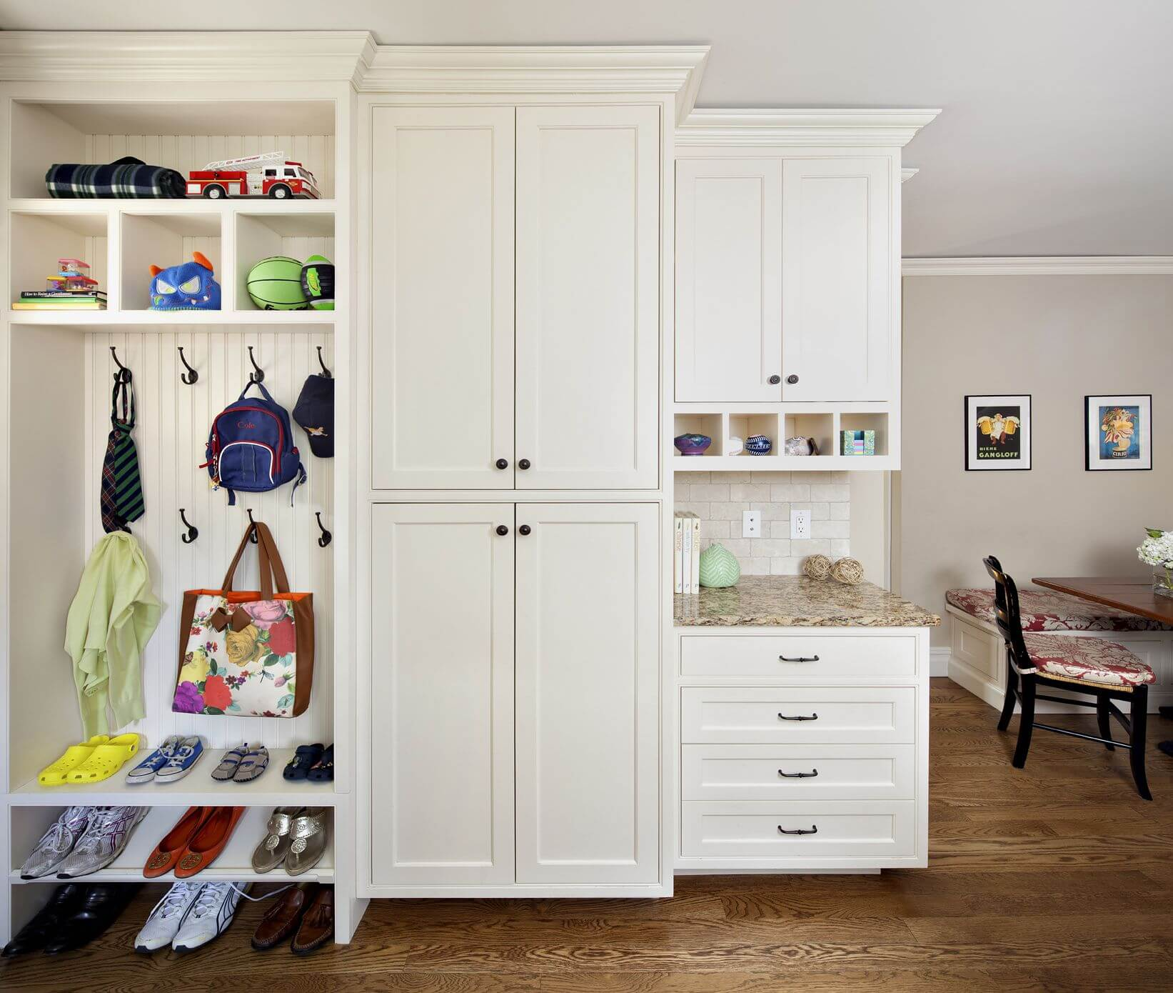 Mudroom cabinets with doors