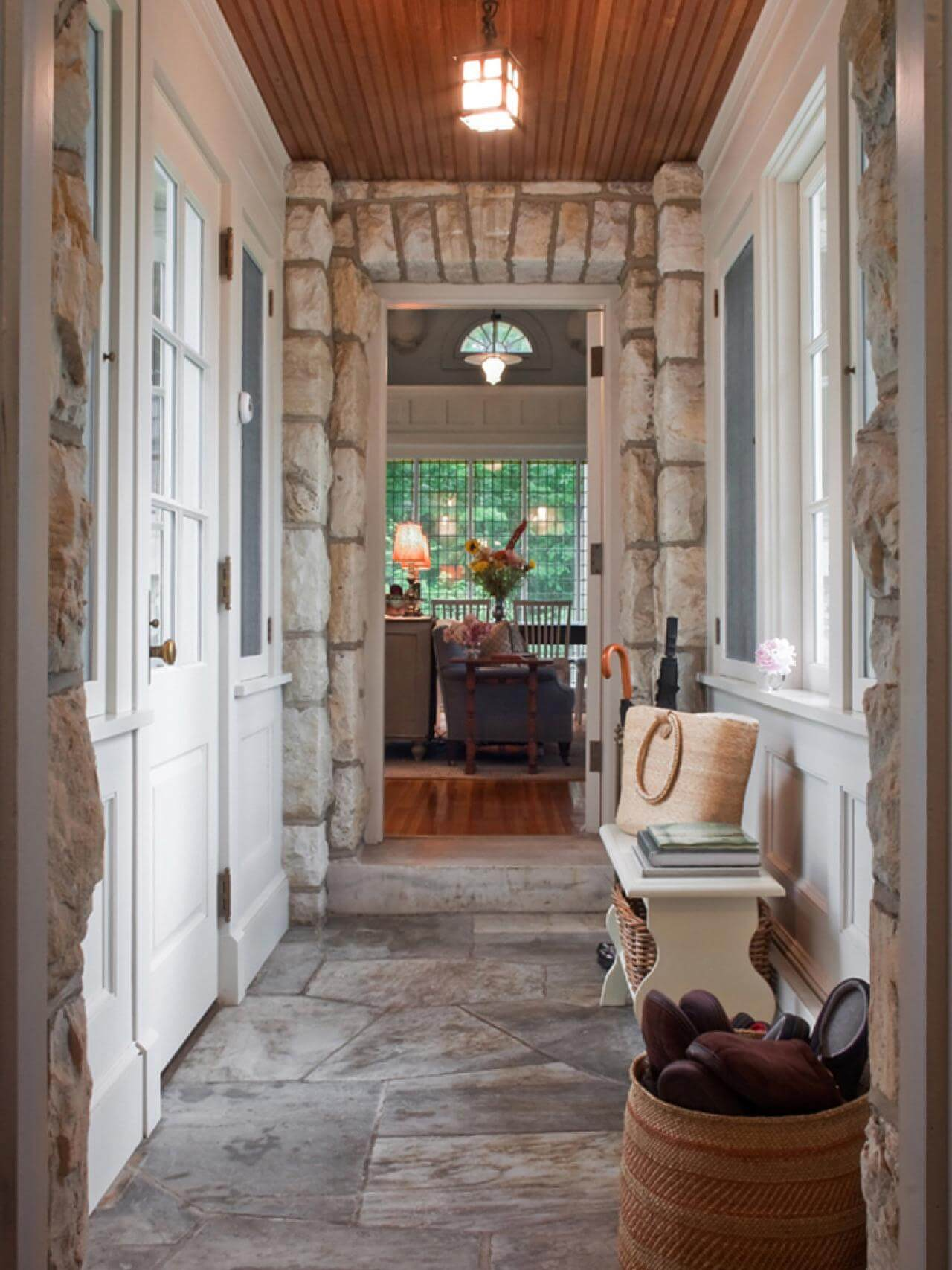Stone Foyer Entrance : Superb mudroom entryway design ideas with benches