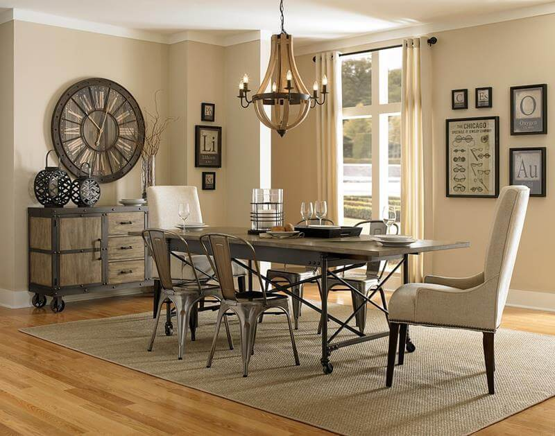 Dining Room Design with Industrial Style Elements like industrial metallic dining table design, metallic dining chairs with industrial look and feel. Also industrial cabinet on wheels.