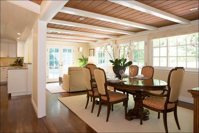 Dining Room with Brown and Orange Colors, the ceiling is brown with white beams, also the dining furniture is orange and the brown hardwood flooring design