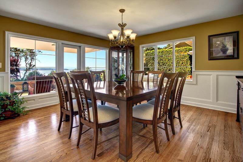 Mustard and White Dining Room
