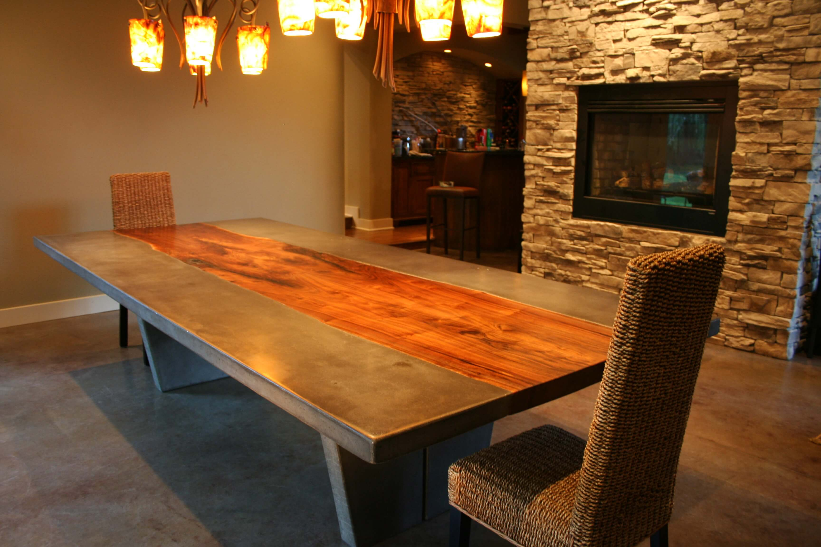 Wood And Stone Dining Room