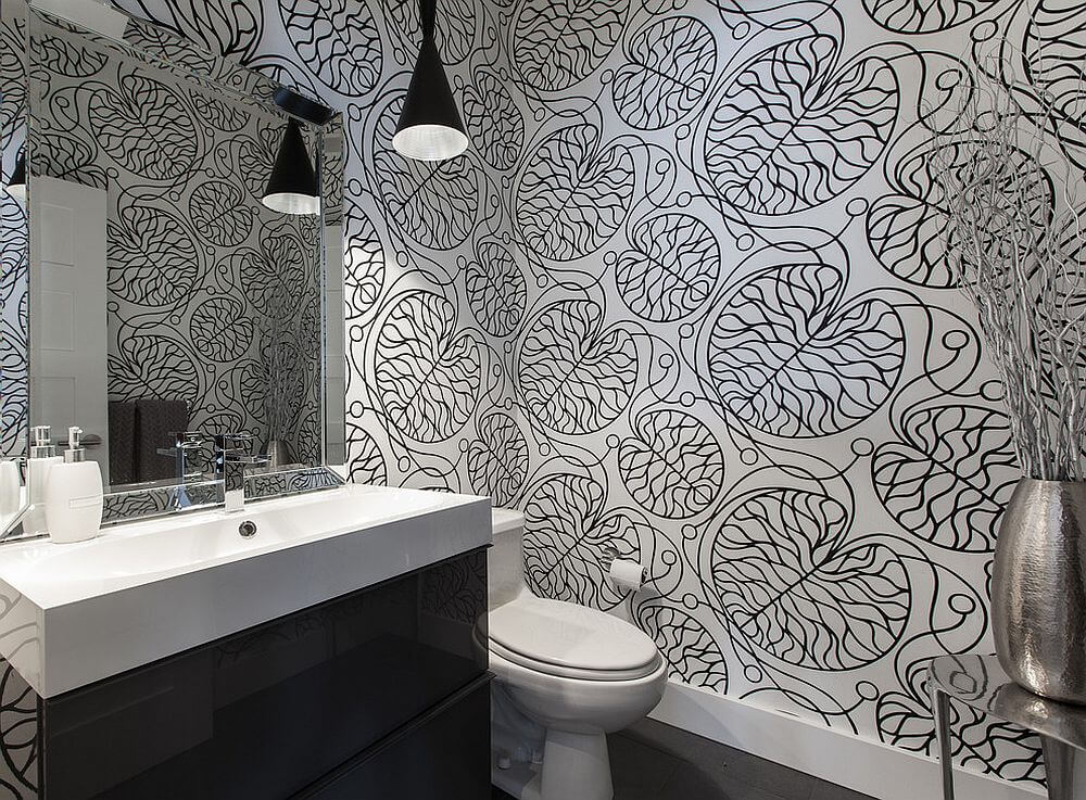 Bathrooms Black White Wallpaper