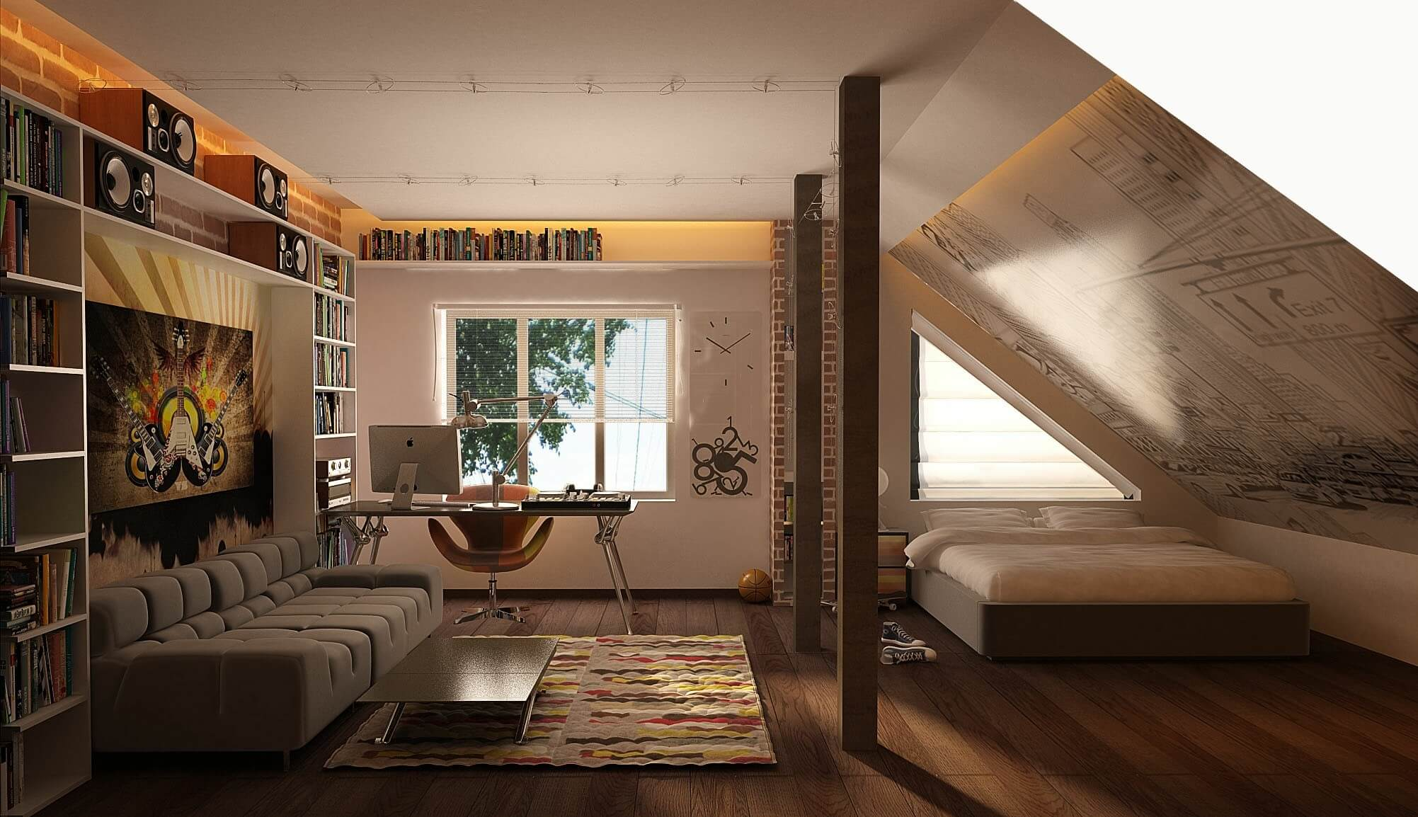 Modern looking bedroom with bookshelves and sloped ceiling, the bed in a corner with a work office desk is placed in front of the large window. Also a large grey sofa with a small magazine table for relaxation.