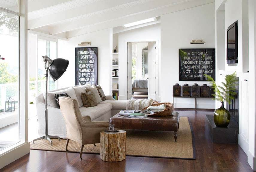 Country living rooms - Beautiful room with sloped ceiling, white walls and sofa in contrast with dark leather coffee table and dark polished flooring. Also a black fireplace is placed.