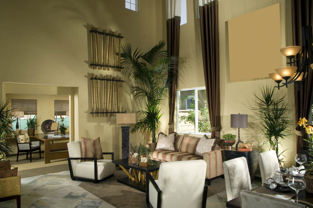 Formal living room earth tones with long and thin drapes, earth tone walls, and green plants. Also bamboo sticks as decoration ideas.