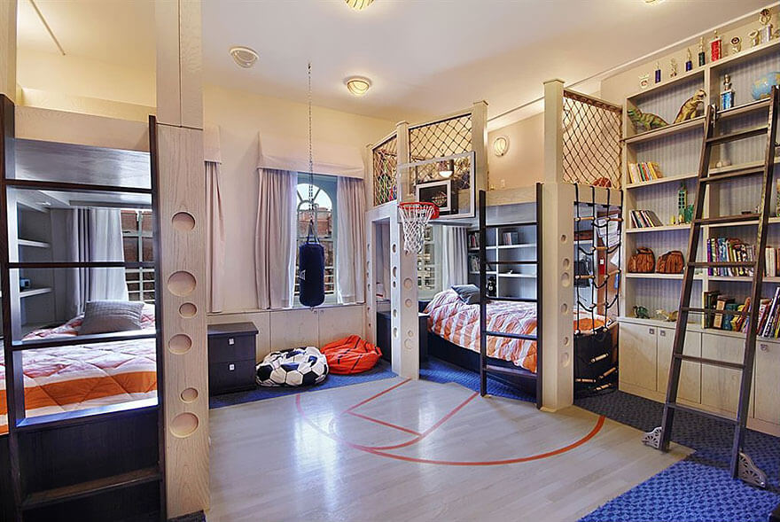 Children magical place where they plan and sleep - kids bedroom ideas. With a soccer and basketball themed room, the kids will be full of joy and happy.