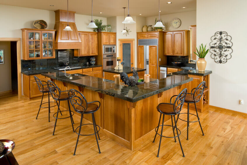 Kitchen Light and Honey Wood Floor
