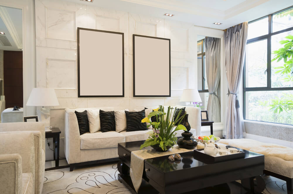 Living room wall ideas with a superb square patterned white tile wall, large windows and white an black furniture designs.