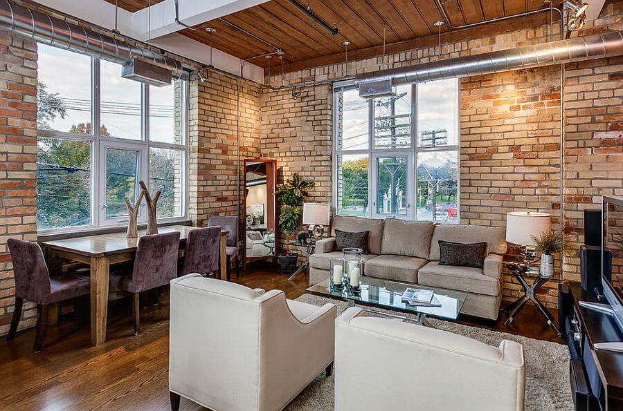 A very interesting concept - living rooms exposed brick that adds a plus of character to the overall room. A very simple design with a multi color randomly aligned orange bricks.