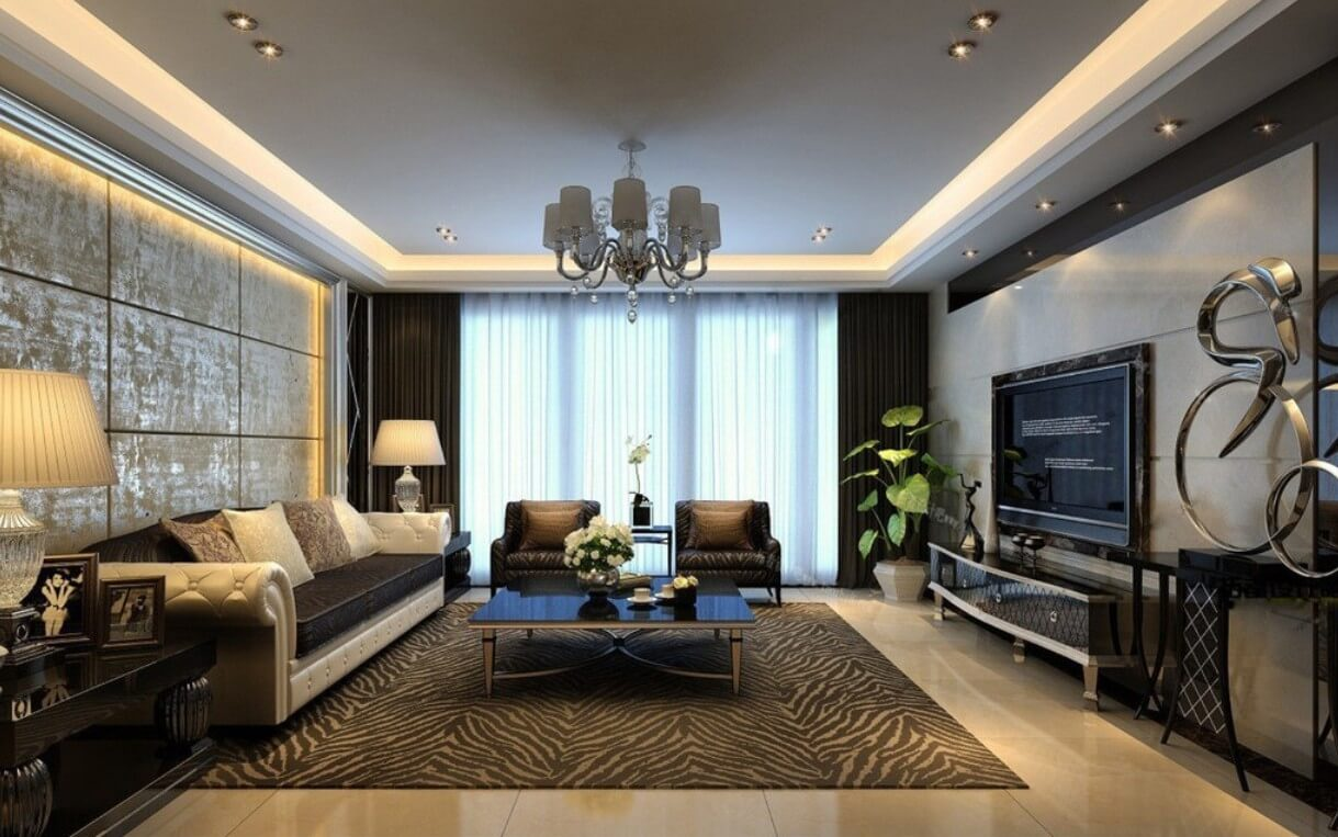 Modern living room ideas with zebra motif carpet, large coffee table and wall made out of beige marble .Also the sofa is beige in contrast with the black furniture.