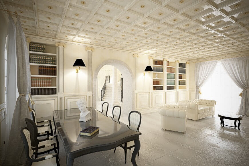 Outstanding living room top designers that was a meeting table with six meeting chairs, one white sofa made out of leather and a big white library. The floor and ceiling are made of white square tiles.