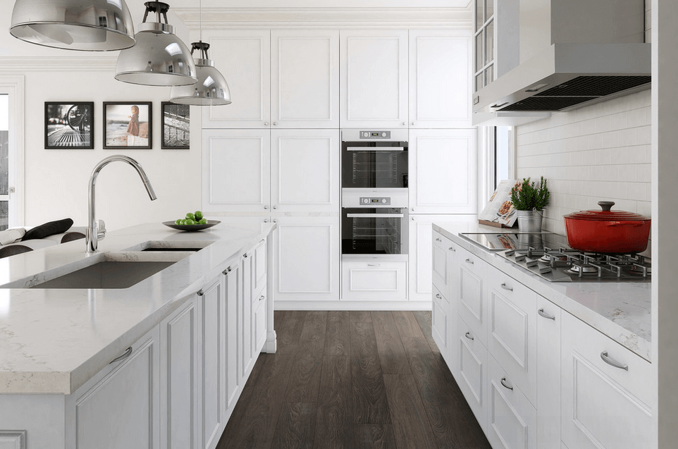 White kitchen designs pictures white white counter tops for kitchen island and kitchen appliances. Also in contrast with the hardwood flooring design that has a dark matte finish.