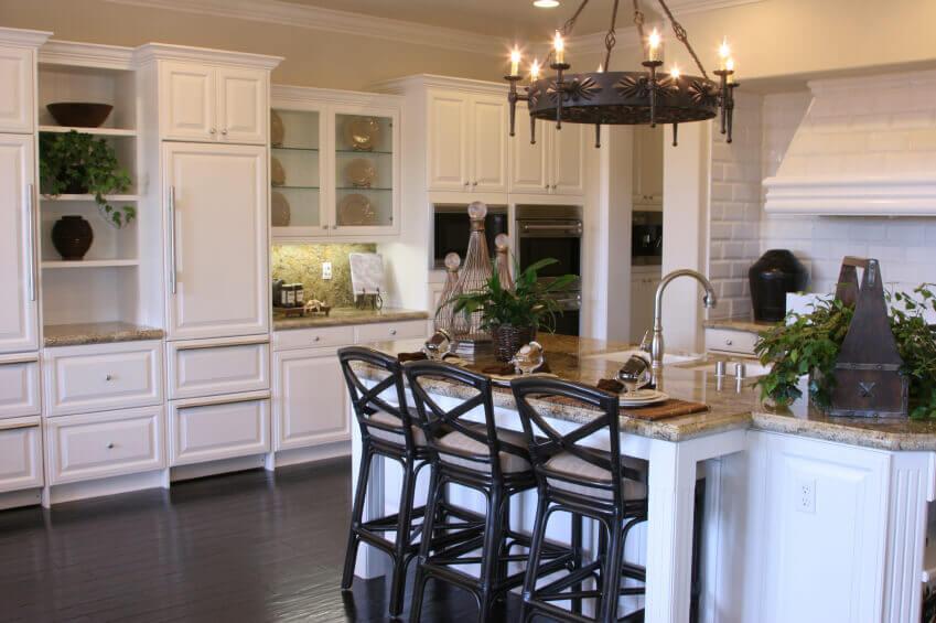 White Kitchens with Dark Wood Floor