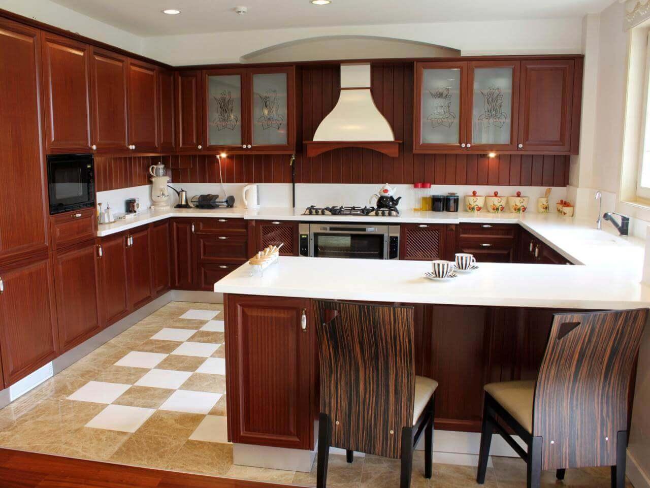 Contemporary Dark Wood Kitchen Cabinets